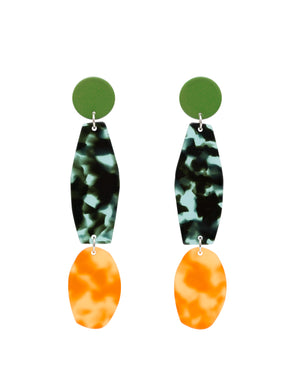 Costume Jewellery Statement Earrings Colourful Tortoiseshell Acetate