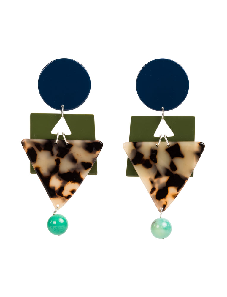 Cleopatra Statement Earrings (Navy)
