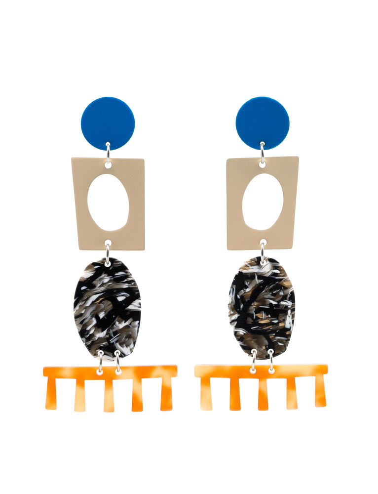 Statement Earrings Blue Italian Cellulose Acetate Comb Shape Cut-out Shape