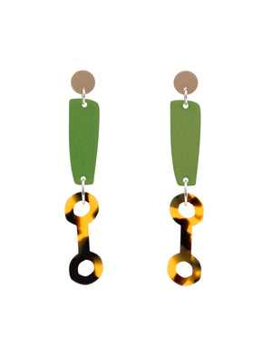 colour link acetate earring costume statement earring sterling silver