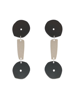 Dumbbell Earrings (Grey Chrome)