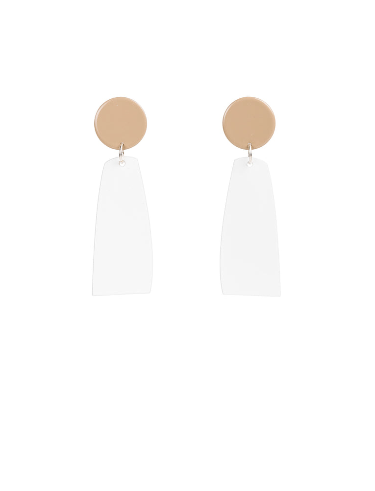 Miles Earrings (Tan & White)