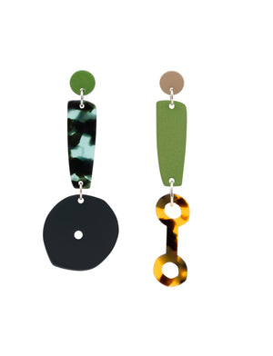 Mismatched Costume Jewellery Earring Colourful Tortoiseshell Acetate Blue Grey Green Tan