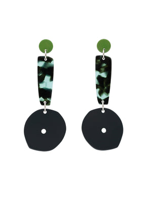Shield Earrings colour-coated stainless steel tortoiseshell acetate sterling silver statement earrings costume jewellery