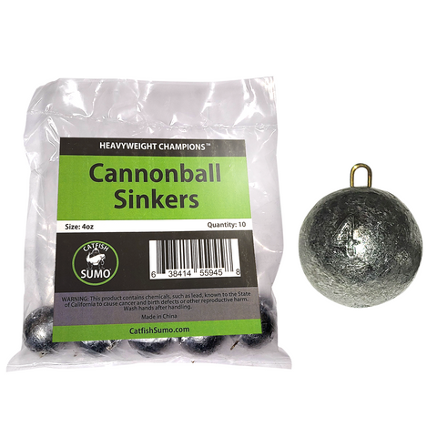 Cannonball Sinkers for Catfishing with Sinker Sliders