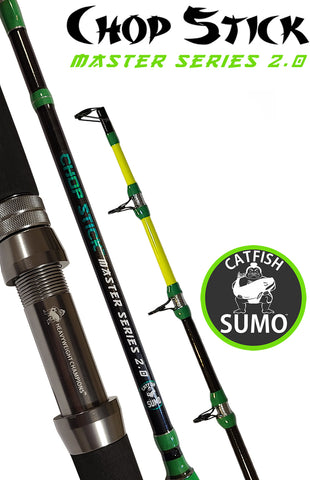 "Chop Stick Master Series 2.0: 1 Piece Medium Heavy, 7' 6"" Catfishing Rod by Catfish Sumo"