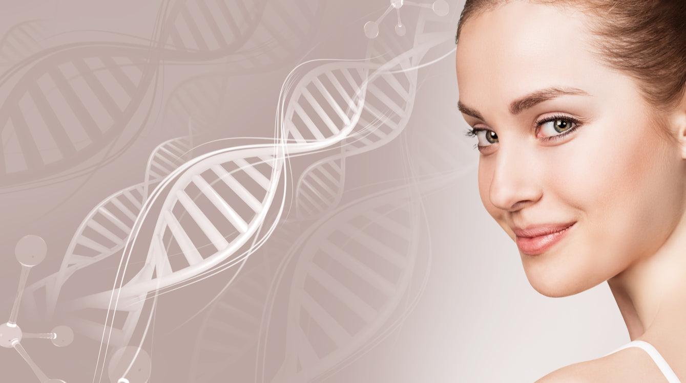 pretty woman's face next dna and molecule strand