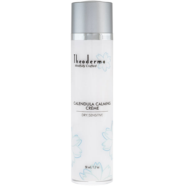 Natural Vegan facial moisturizer. Theoderma white twist top bottle with matte silver top.