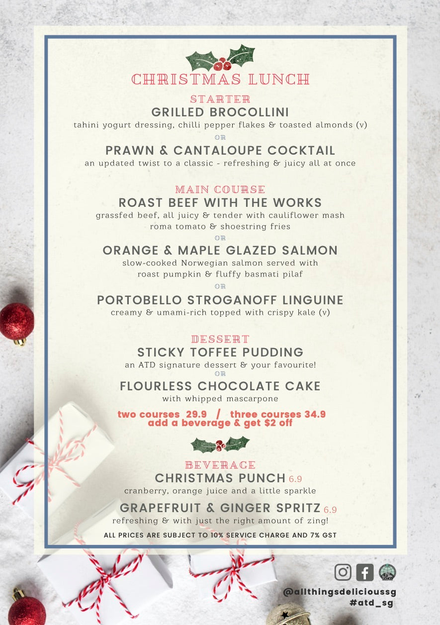 All Things Delicious Christmas Lunch Menu Specials