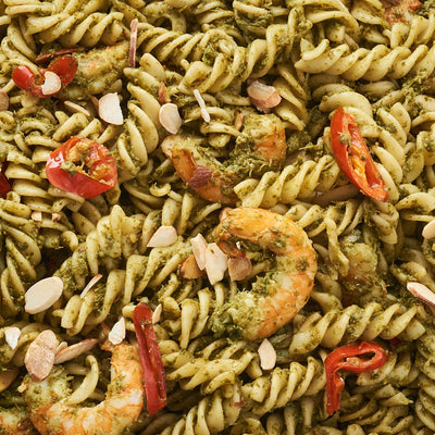 Coriander Pesto Prawns with Caramelised Chillis Pasta