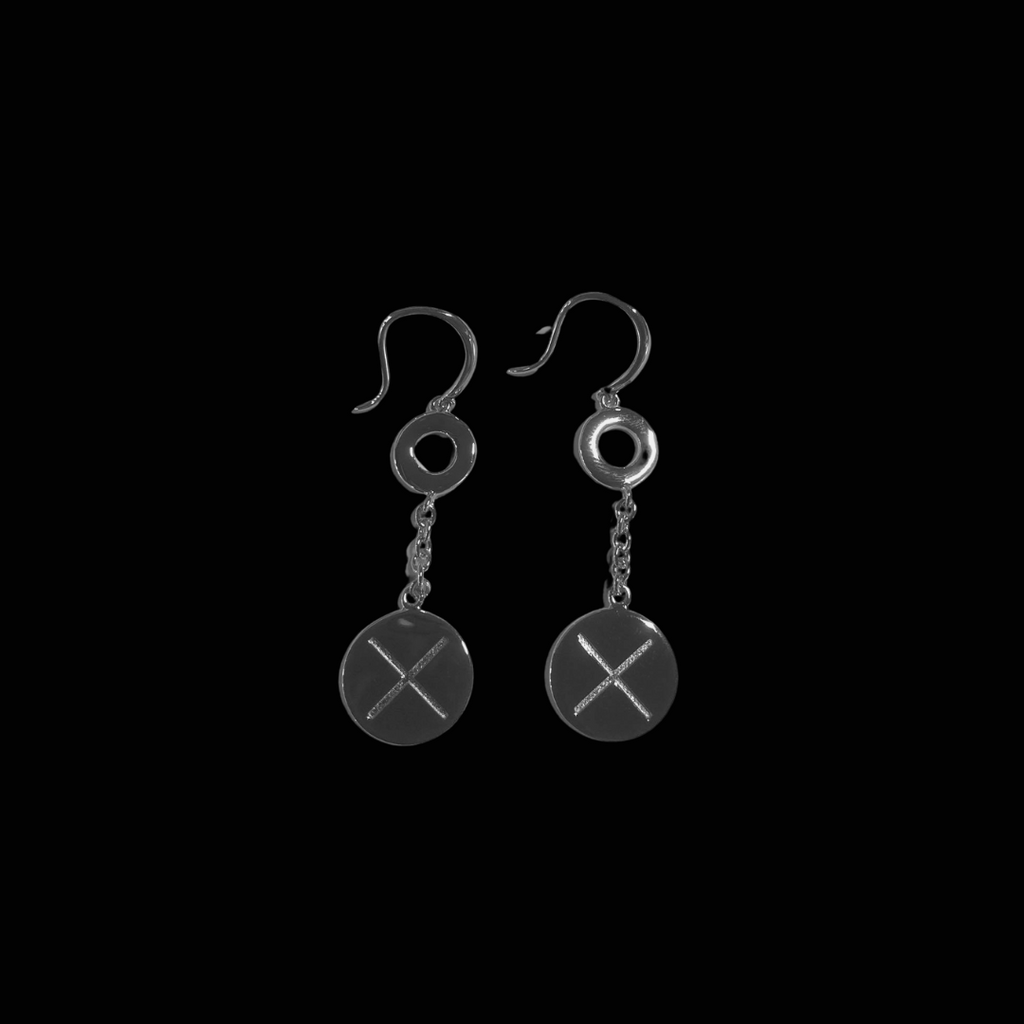 X Hook Earring Rhodium