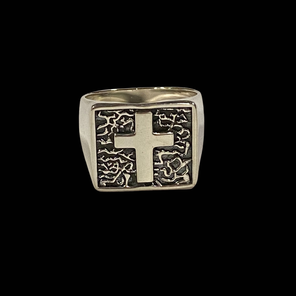 Cross Ring Oxidised Silver