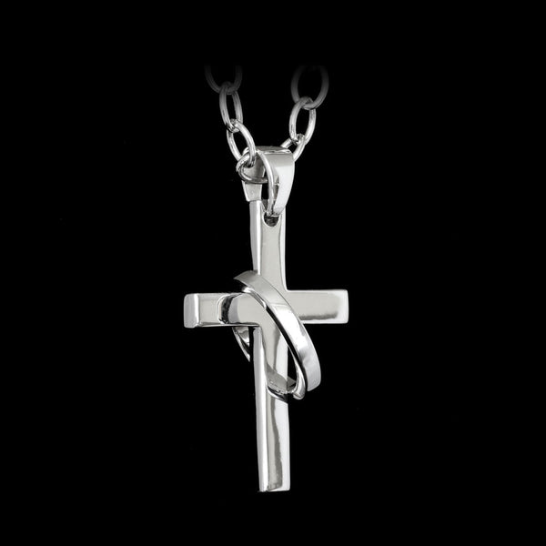 Cross Eternity Rhodium-Plated Silver