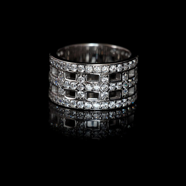 Cross Ring Rhodium-Plated / Swarovski