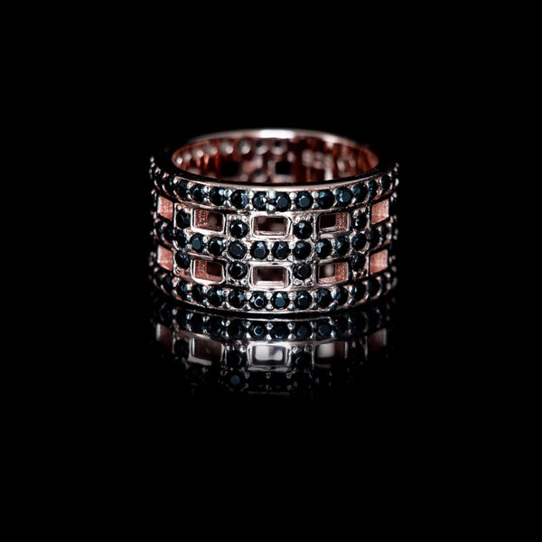 Cross Ring Rose Gold / Black Swarovski