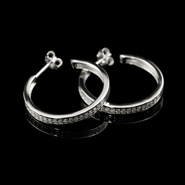 Hoop Earrings Rhodium-Plated / Swarovski