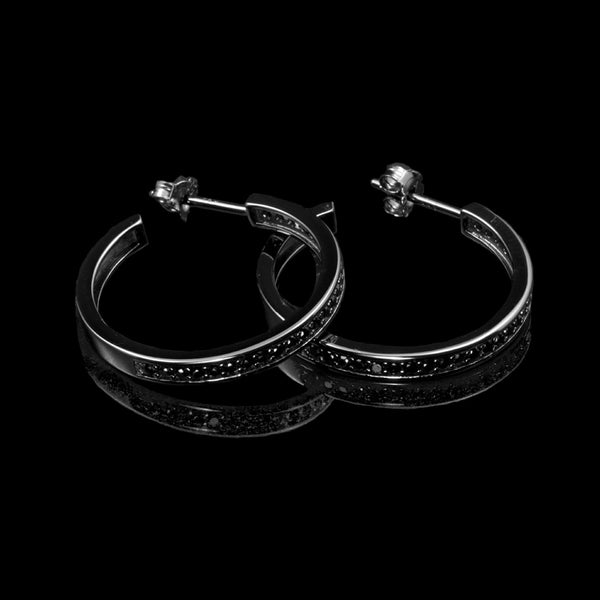 Hoop Earrings Black Rhodium / Black Swarovski