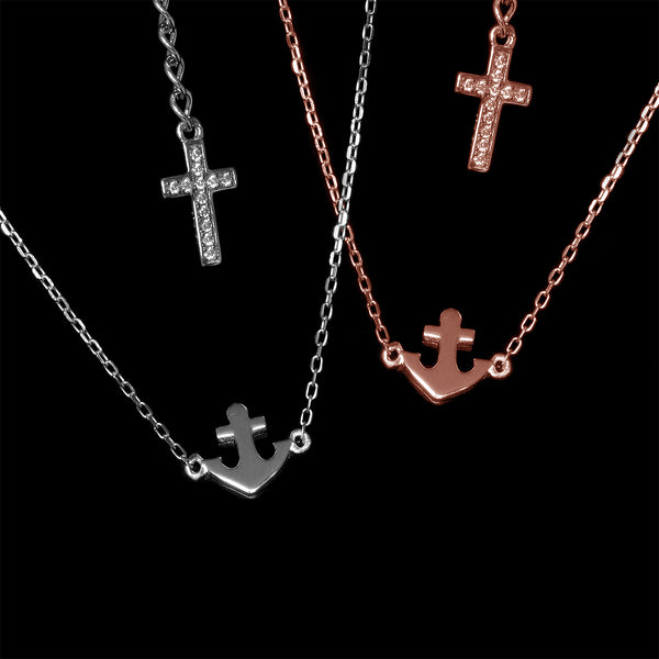 Faith, Hope & Love Necklace: Rhodium & Rose Gold