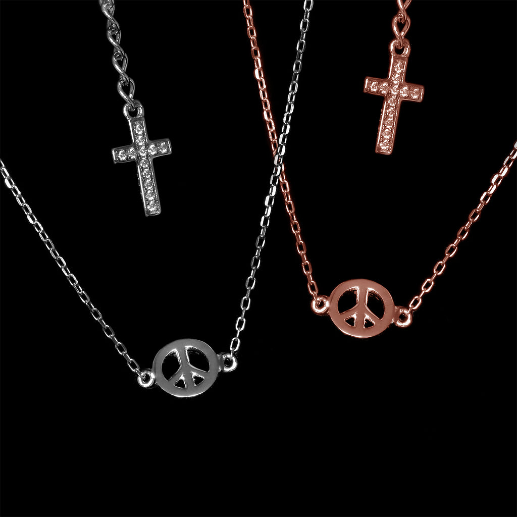 Peace Necklace: Rhodium & Rose Gold