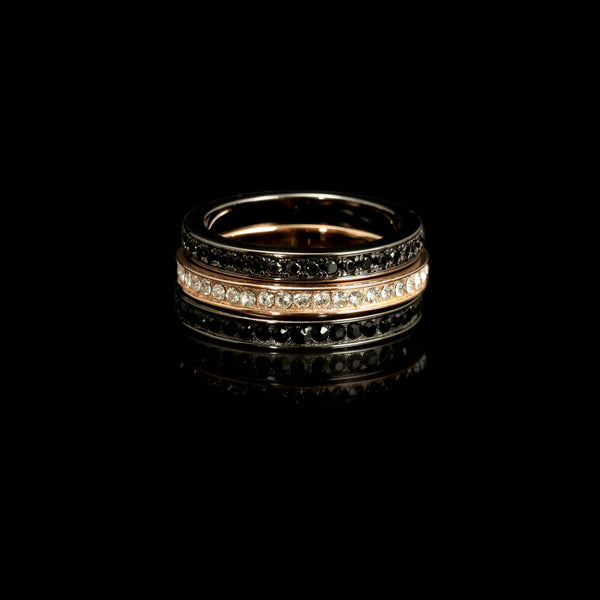 Tennis Ring Black Rhod. / Rose Gold / Swarovski