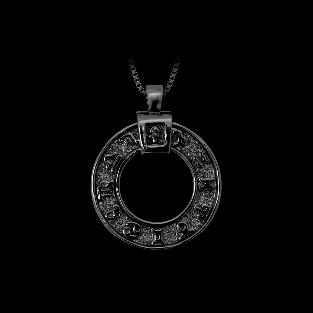 Zodiac Necklace Black Rhodium-Plated Silver