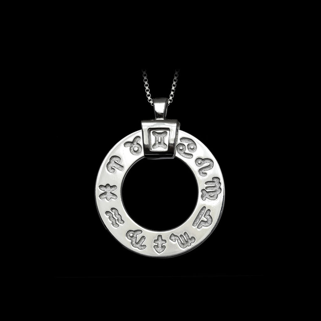 Zodiac Necklace Rhodium-Plated Silver