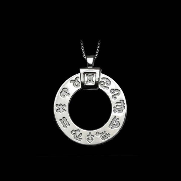 Zodiac Necklace Rhodium-Engraved