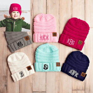 Product Update: Monogram Beanies for Kids and adults!