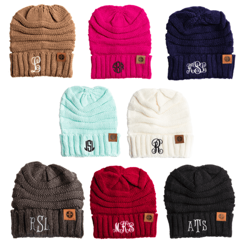 Monogram beanies for adults