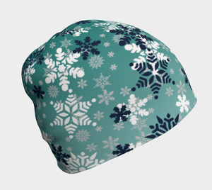 It's snowing snowflakes winter snow beanie kids and adult sizes