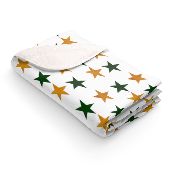 Sherpa Fleece Blanket with Green and Gold stars
