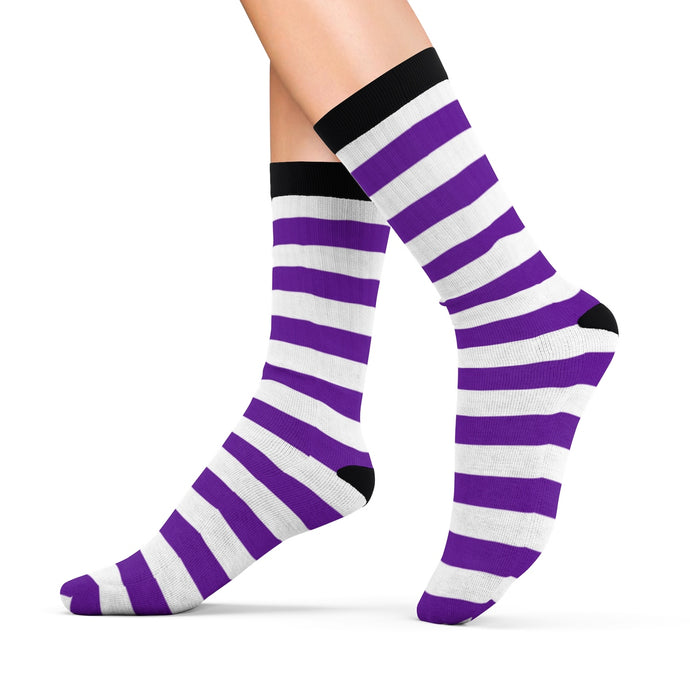 Socks with violet n' white stripes - summerinstates