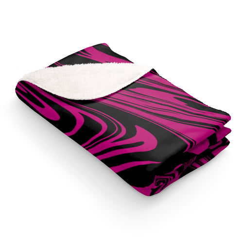 Black and pink marble Sherpa Fleece Blanket - summerinstates