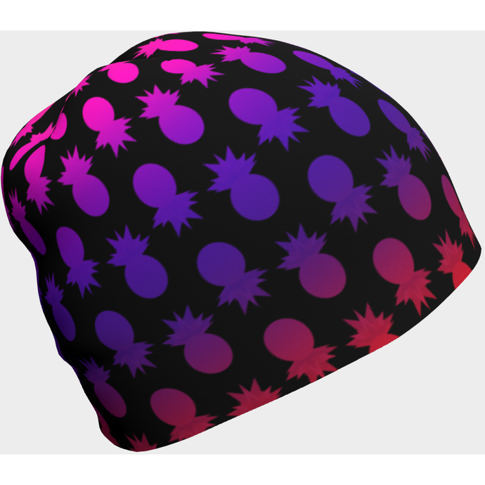 Colorful pineapples black beanie - summerinstates