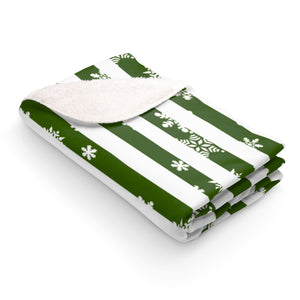 Green stripes snowing Sherpa Fleece Blanket