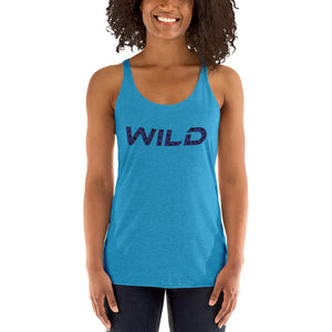Wild Navy Blue text Racerback Tank - summerinstates