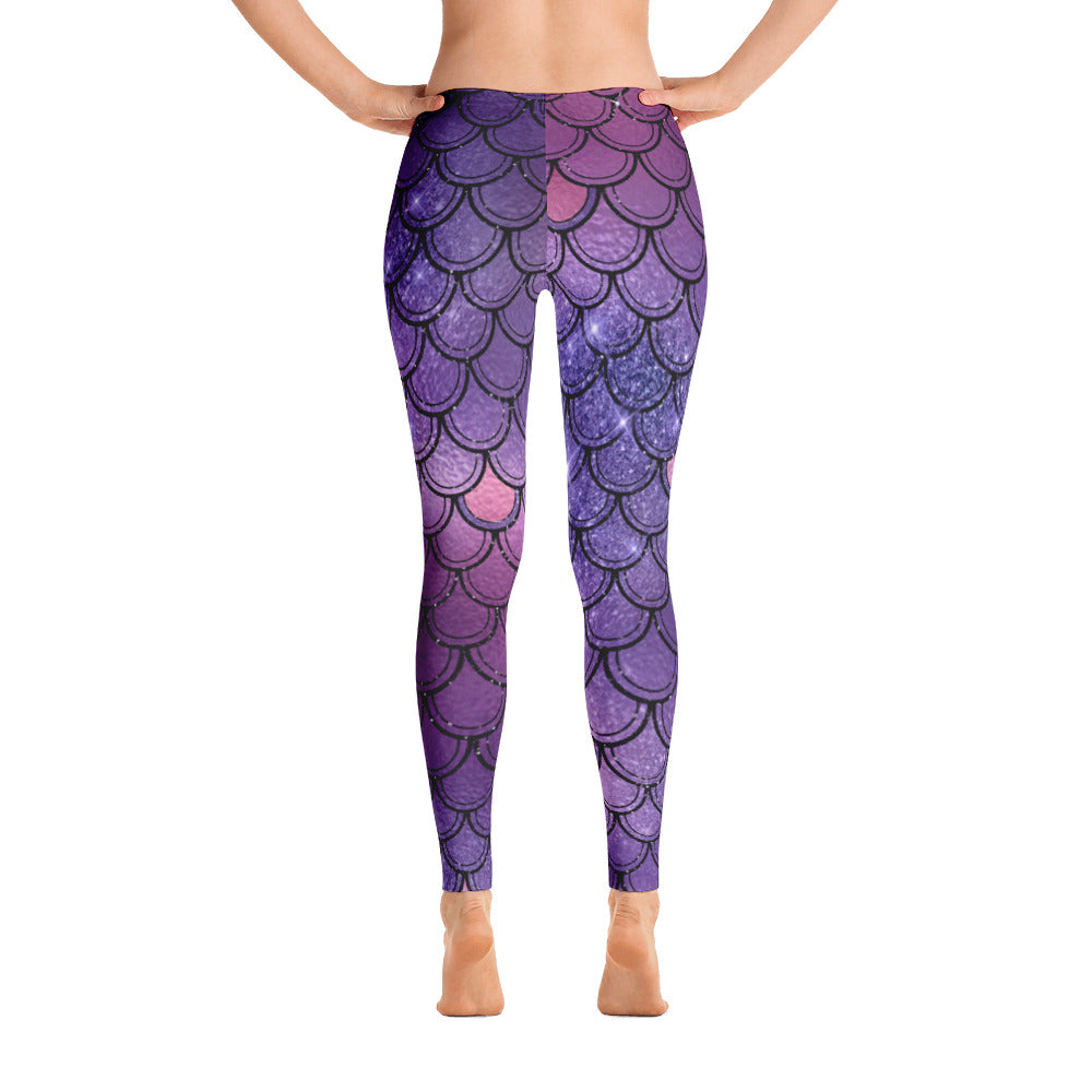 Violet Mermaid scale Leggings - summerinstates