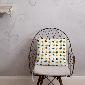 Throw pillow with green and gold  stars - summerinstates