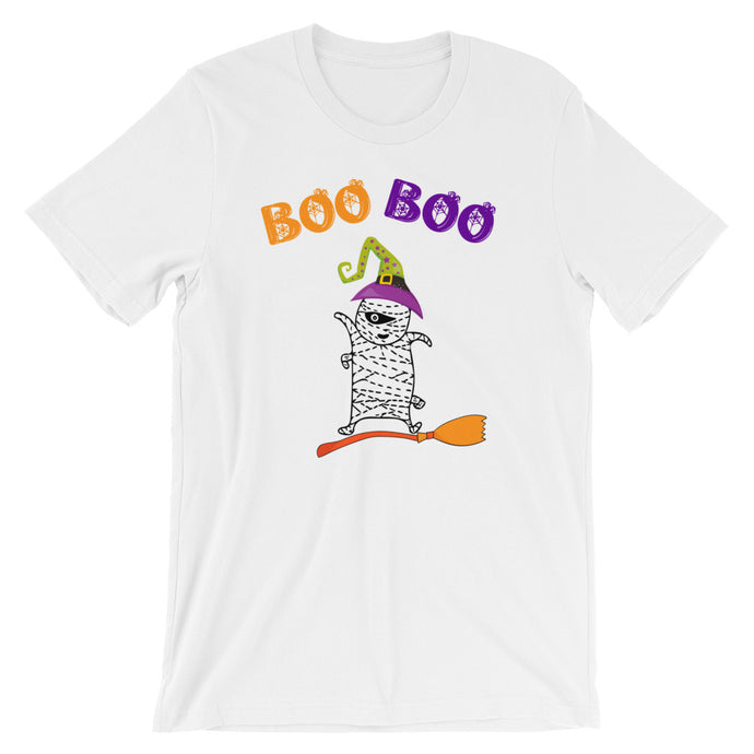 Boo Boo Funny Mummy on the broom T-Shirt - summerinstates