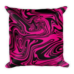 Black and pink marble throw pillow