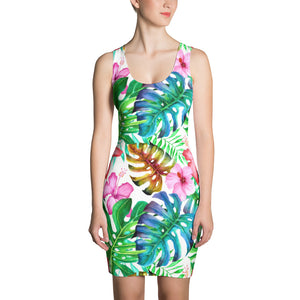 Women's Tropical leaves dress - summerinstates