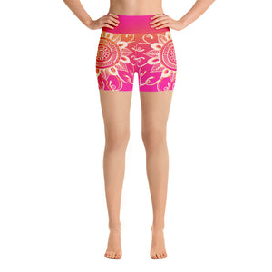 Sunflower Mandala Yoga Shorts - summerinstates