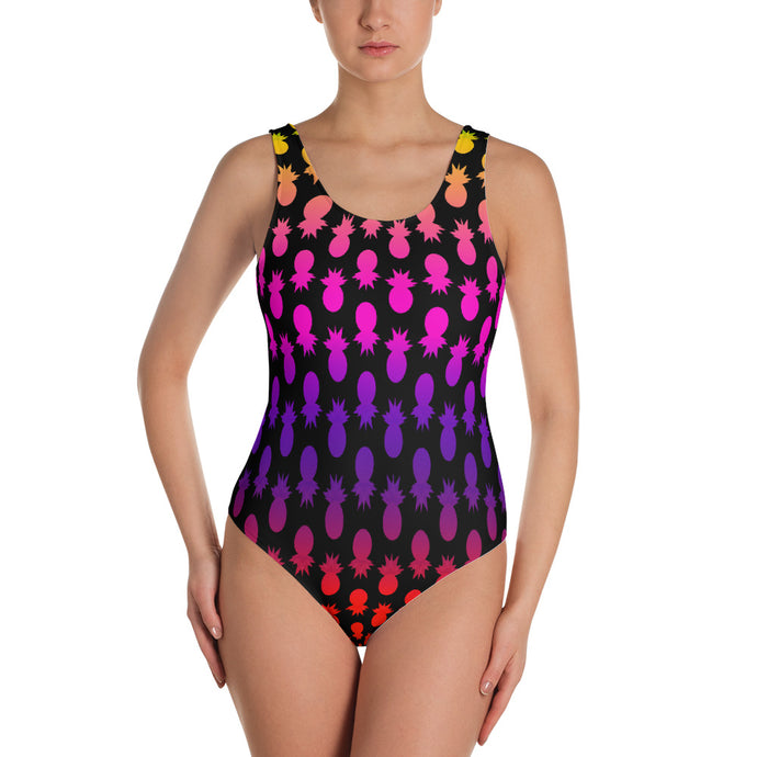 Colorful pineapples black Swimsuit - summerinstates