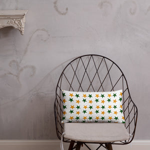 Throw pillow with green and gold  stars