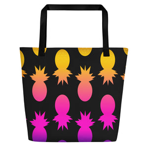 Colorful Pineapples black Beach Bag - summerinstates