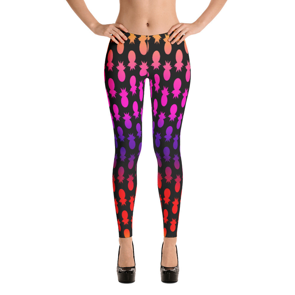 Colorful pineapples black Leggings - summerinstates