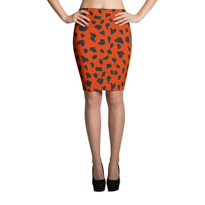 Wild Orange Pencil Skirt - summerinstates