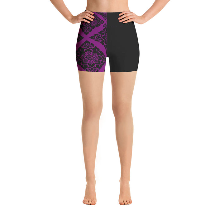 Black and Violet high waist Yoga Shorts - summerinstates