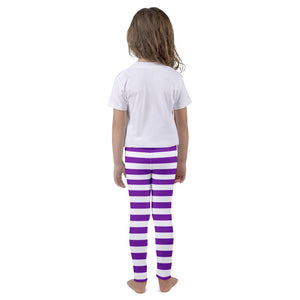 Kid's leggings with Violet n' white stripes - summerinstates