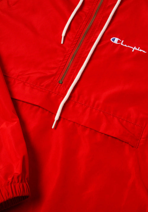 Half Zip-Up Hooded Pocket Front Rain Jacket